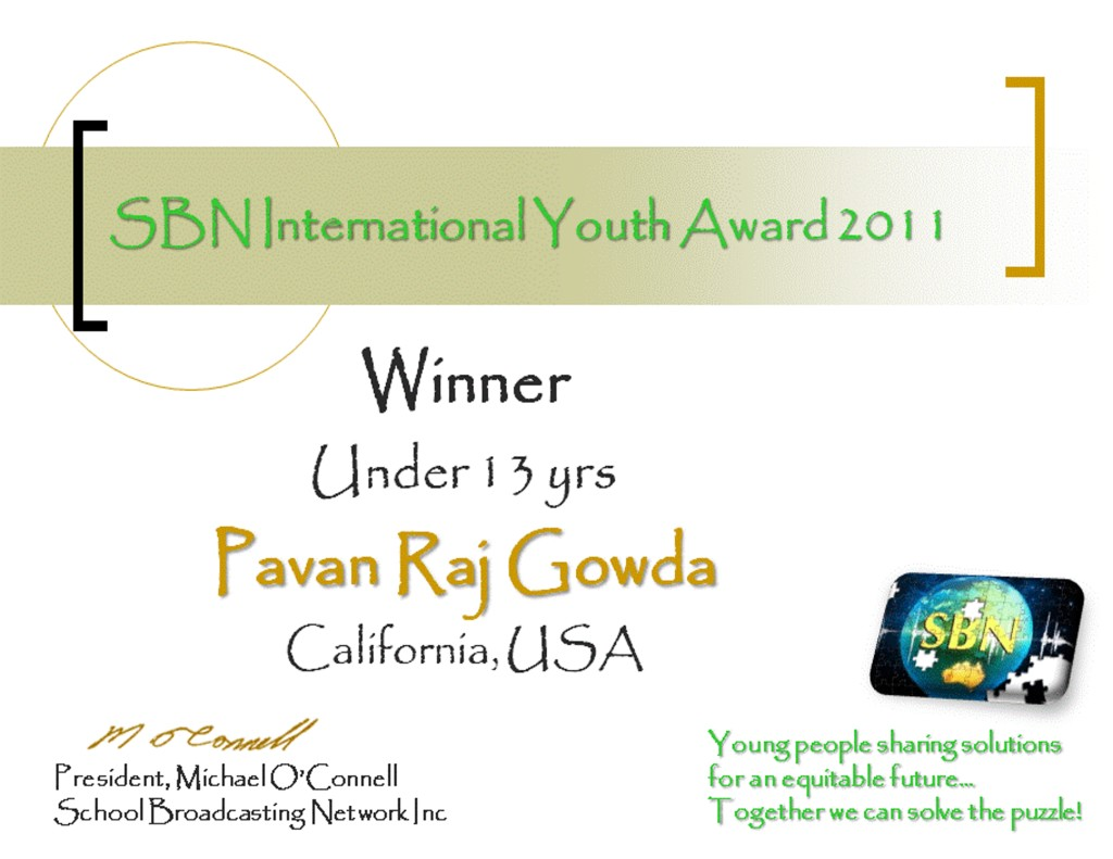 SBN International Youth Award 2011Pavan Raj Gowda